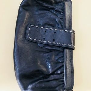 Black leather BE & D clutch